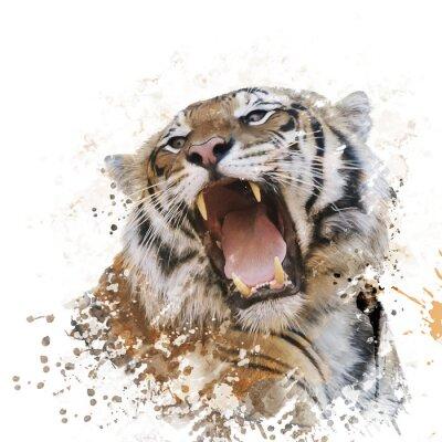 Fotomural Aguarela do retrato do tigre