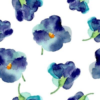 Fotomural Aguarela do teste padrão sem emenda das flores violetas.