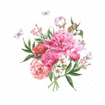 Fotomural Aguarela do vintage com flores de florescência eo
