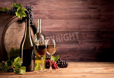 Fotomural Ainda, vida, vinho, madeira, barril