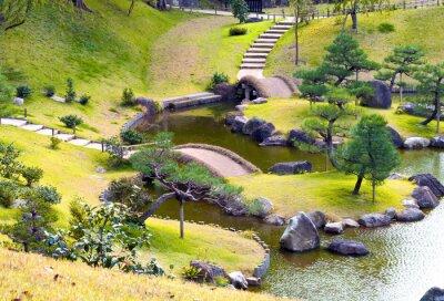 Fotomural Ajardinado, montanhoso, rocha, jardim, pequeno, pontes, sobre, enrolar, riacho, subindo,