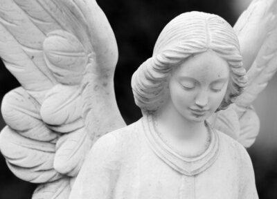 Fotomural alado estátua detalhe angelical de rosto e asas