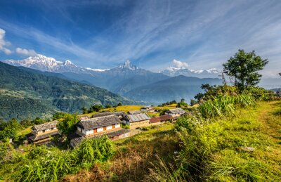 Fotomural Aldeia nas montanhas do Himalaia no Nepal
