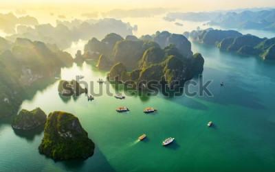 Fotomural Aldeia piscatória da vista aérea e ilha da rocha, baía de Halong, Vietname, 3Sudeste Asiático. Patrimônio Mundial da UNESCO. Cruzeiro de barco não solicitado para a Baía de Ha Long. Marco popular, fam