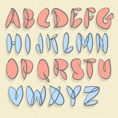 Fotomural Alfabeto Desenhado Mão. Mão Escovado Unforced Bubble Alphabet.