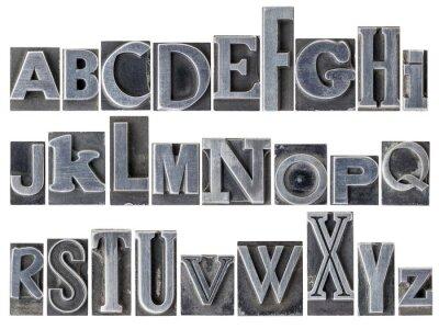 Fotomural alfabeto em tipo de metal misturado