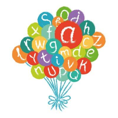 Fotomural Alfabeto inglês engraçado do vetor. Entregue o giz tirado como letras em círculos coloridos.