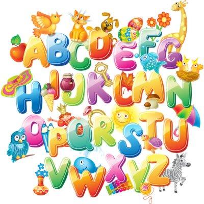 Fotomural Alfabeto para crianças com fotos