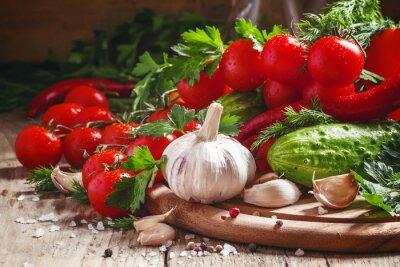 Fotomural Alho fresco, tomate cereja, pepino, pimenta, salsa, di