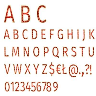 Fotomural Alphabet flocos de neve no vetor de fundo vermelho