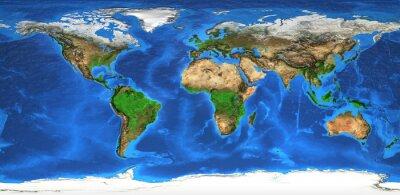 Fotomural Alta resolução mapa do mundo e landforms