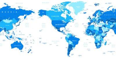 Fotomural Altamente ilustração vetorial detalhada de mapa do mundo.