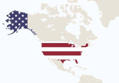 Fotomural America do Norte com o mapa destacado dos EUA.