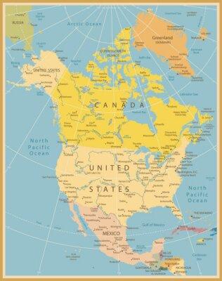 Fotomural América do Norte Mapa detalhado Vintage Cores