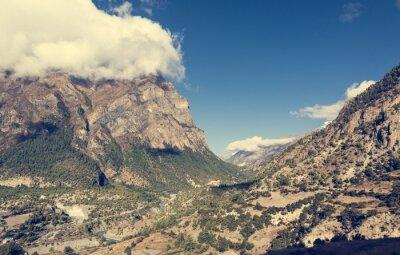 Fotomural Amplo vale da montanha com o rio que flui completamente.