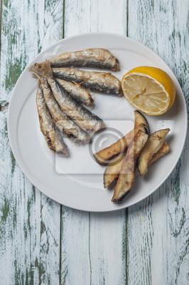 Fotomural Anchovas, fritado, beringela