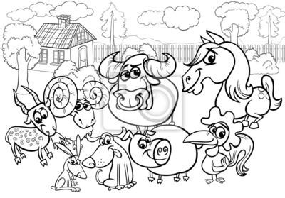 Animais De Fazenda Desenho Animado Para Colorir Fotomural