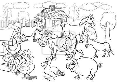 Animais De Fazenda Dos Desenhos Animados Para Livro De Colorir