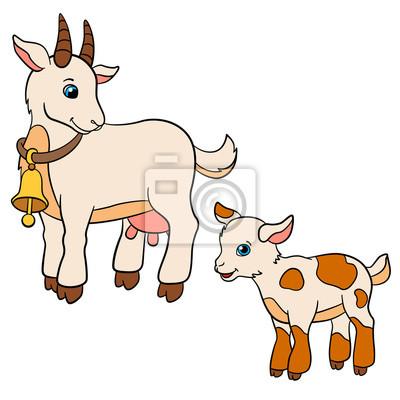 Animais De Fazenda Dos Desenhos Animados Para Miudos Mae Cabra