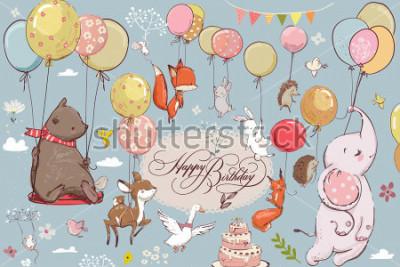 Fotomural animais fofos voando com balões