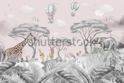 Fotomural animals in the forest children's room wallpaper design