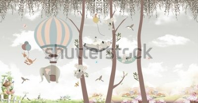 Fotomural animals on trees in the jungle