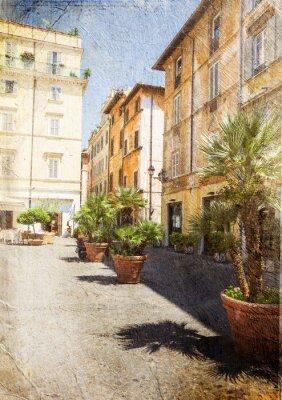 Fotomural antiga rua em Roma. Itália. Imagem em estilo retro artística.