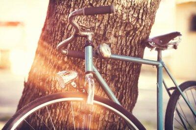 Fotomural Antigas, bicicleta, inclinar-se, contra, árvore