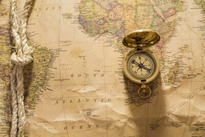 Fotomural Antigas, compasso, corda, vindima, mapa