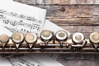 Fotomural Antigas, flauta, folha, música, Enferrujado, madeira, tábua
