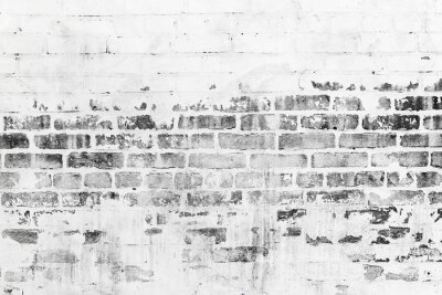 Fotomural Antigas, tijolo, parede, danificado, branca, pintura, camada