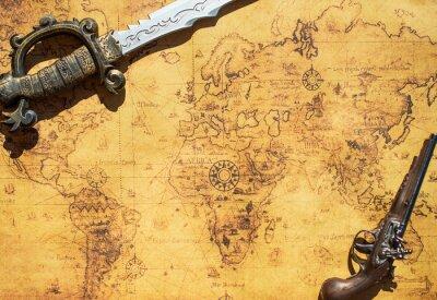 Fotomural Antigo mapa do tesouro com espada e mosquete arma.