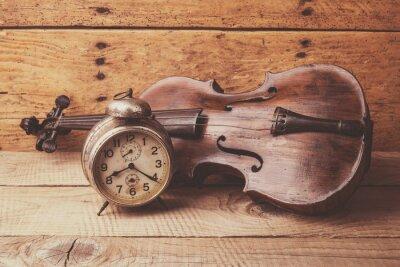 Fotomural Antigüidade, relógio, antigas, violino, vindima, madeira, tabela