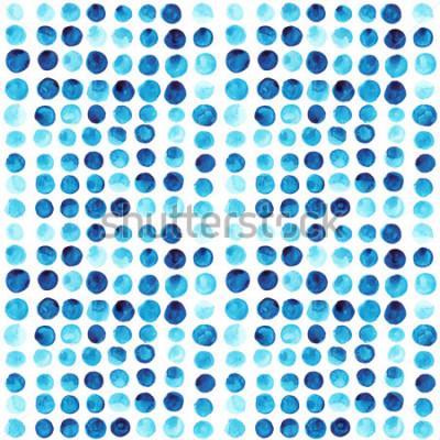 Fotomural Aquarela de vetor círculos padrão sem emenda (lado a lado). Retrô mão desenhada círculos ornamento. Padrão de formas redondas. Formas redondas. Ornamento pintado. Grunge colorido arredonda formas.