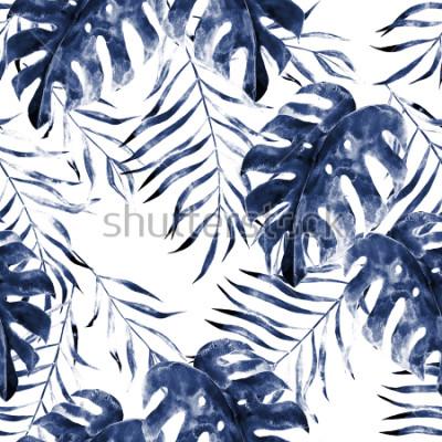 Fotomural Aquarela exótica padrão sem emenda, folhas verdes tropicais, ilustração botânica do verão no fundo branco