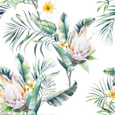 Fotomural Aquarela exótica padrão sem emenda. Repetindo a textura com plantas, bouquet tropical: ramos de palmeira, protea, folhas de bananeira, flor de frangipani. Design de papel de parede de verão