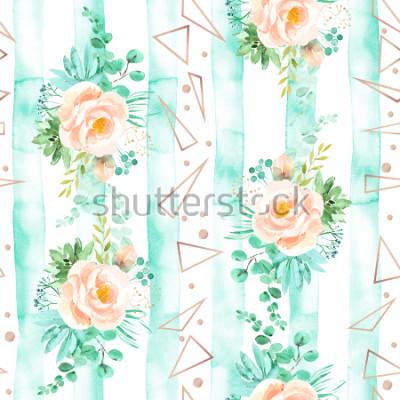 Fotomural Aquarela floral padrão sem emenda em toneladas de rosa menta. Fundo geométrico com buquês de flores. Rosas, suculentas, licença eucalipto, ouro rosa, ilustração