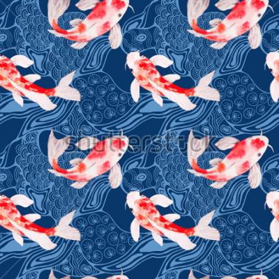 Fotomural Aquarela koi peixe textura padrão sem emenda com ondas no pano de fundo
