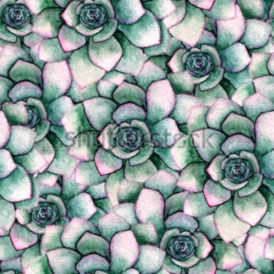 Fotomural Aquarela sem costura padrão botânico com suculentas