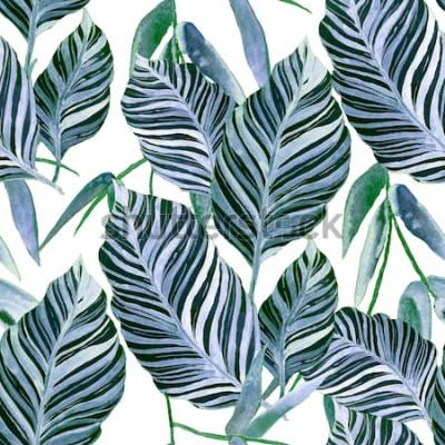 Fotomural Aquarela sem costura padrão com folhas tropicais: palmeiras, monstera, maracujá. Bela impressão allover com plantas exóticas mão desenhada. Design botânico de banho.