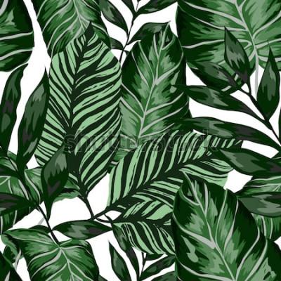 Fotomural Aquarela sem costura padrão com folhas tropicais: palmeiras, monstera, maracujá. Bela impressão allover com plantas exóticas mão desenhada. Design botânico de banho. Vetor.