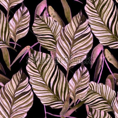 Fotomural Aquarela sem costura padrão com folhas. Vintage de textura.