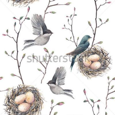 Fotomural Aquarela sem costura padrão com ninho, pássaros e galhos de árvore. Mão de vetor extraídas fundo de primavera. Papel de parede vintage com andorinha e ovos