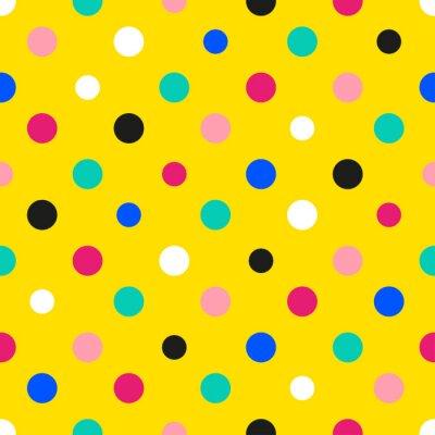 Fotomural Arco íris colorido ponto de polca fundo amarelo ilustração vetorial