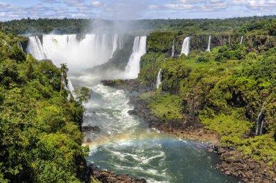 Fotomural Arco-íris na garganta do diabo em Cataratas do Iguaçu, Brasil
