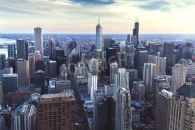 Fotomural Arquitectura da cidade baixa de Chicago com arranha-céus, opinião aérea ou do pássaro-olhos, dia nebuloso. Illinois, EUA.