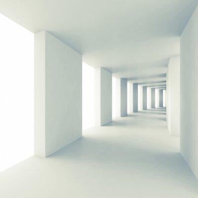 Fotomural Arquitetura abstrata 3d fundo, corredor vazio branco