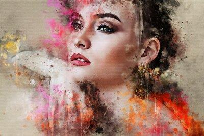 Fotomural Arte colorida esboçou o retrato abstrato bonito do rosto de menina em fundo colorido em aquarela digital