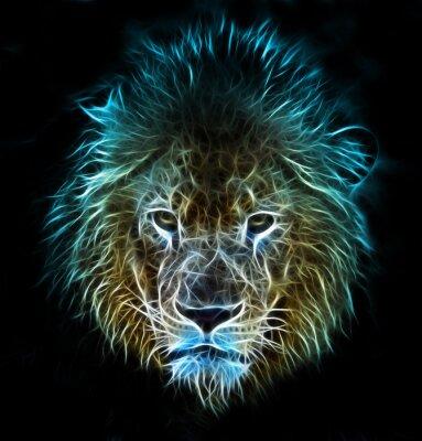 Fotomural Arte digital da fantasia do fractal de um leão em um fundo isolado