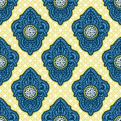 Fotomural Arte étnica ornamental, modelado indiano, turco, árabe, paisley. Mão ilustrações desenhadas Tatuagem, astrologia, alquimia, boho e símbolo mágico. Design original em estilo doodle.